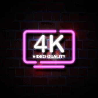 Illustrazione del segno di stile al neon tv intelligente 4k
