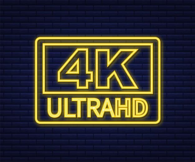 Segno di impostazioni ultra video 4k. icona al neon. illustrazione di riserva di vettore.