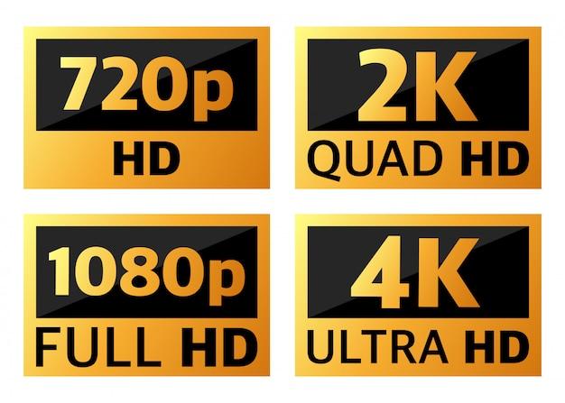 Dimensioni del video 4k ultrahd, 2k quadhd, 1080 fullhd e 720 hd.