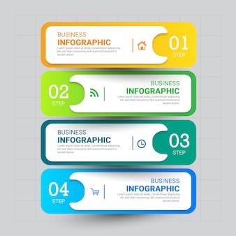 Modello di infografica a 4 passi