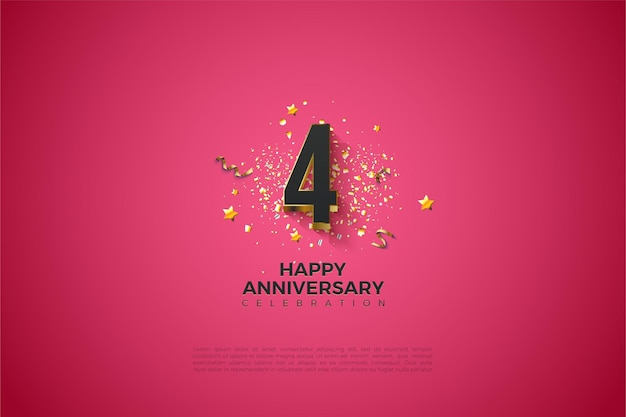 4 ° anniversario con illustrazione del numero placcato oro in grassetto.