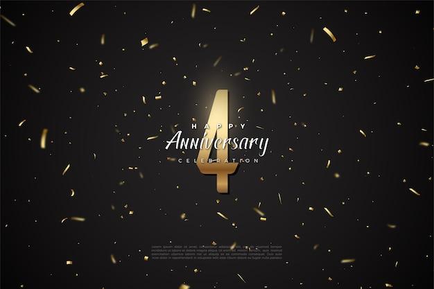 4 ° anniversario con illustrazione di figura dorata su sfondo nero con macchie punteggiate d'oro.