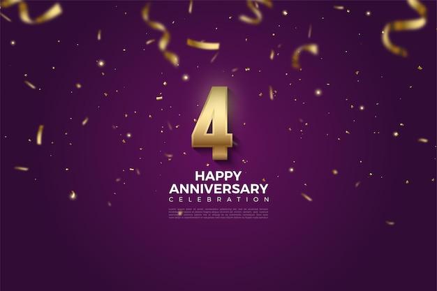 4 ° anniversario con illustrazione di numeri inondati di ptia e carta dorata.