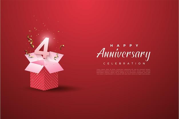 Il 4 ° anniversario con un'illustrazione del numero su una confezione regalo aperta.