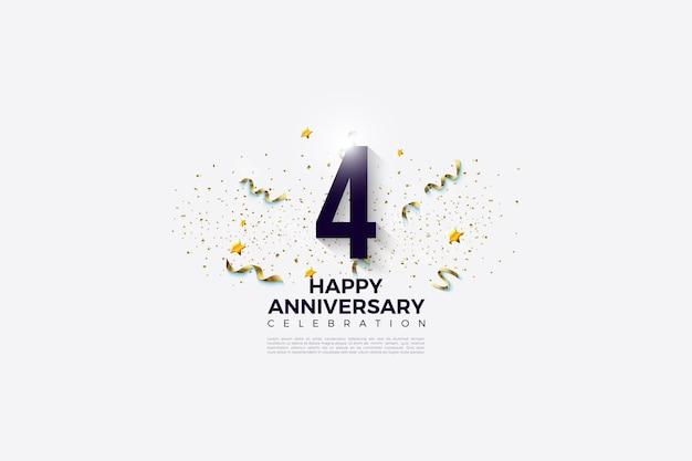 Il 4 ° anniversario con numeri e illustrazioni festive alle spalle.