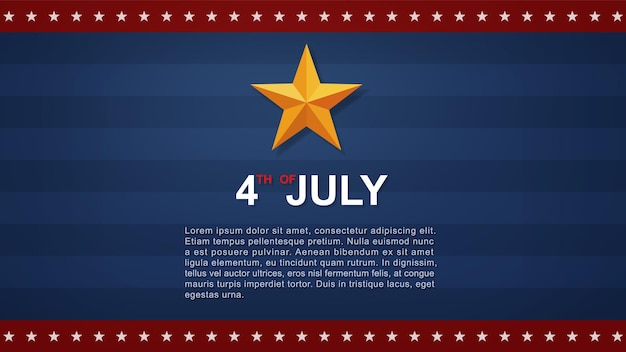 Sfondo del 4 luglio per il giorno dell'indipendenza degli stati uniti (stati uniti d'america) con sfondo blu e bandiera americana. illustrazione vettoriale.