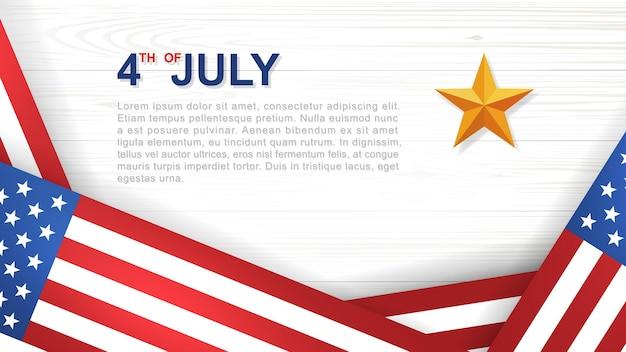 4 luglio - sfondo per il giorno dell'indipendenza degli stati uniti d'america (stati uniti d'america) con motivo e trama in legno bianco e bandiera americana. illustrazione vettoriale.