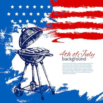 Sfondo del 4 luglio con bandiera americana. disegno di schizzo disegnato a mano dell'annata di independence day