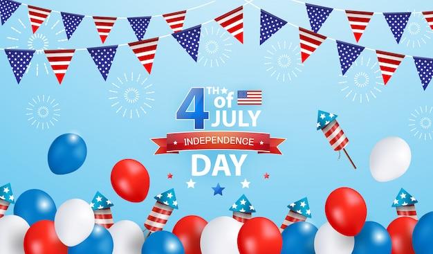 Poster della celebrazione del 4 luglio. modello dell'insegna di promozione di vendita di festa dell'indipendenza con i palloni rossi, blu, bianchi e la bandiera d'ondeggiamento di usa su fondo blu.