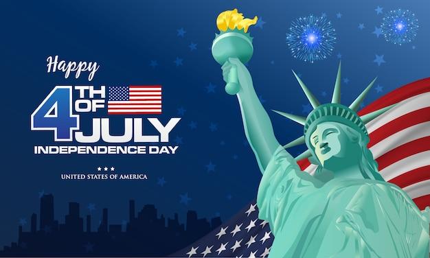 4 luglio. felice giorno dell'indipendenza dell'america sfondo con sventolando la bandiera e la statua della libertà, simbolo dell'america