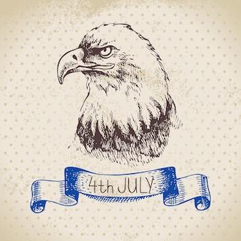 Sfondo vintage del 4 luglio. disegno di schizzo disegnato a mano di independence day of america