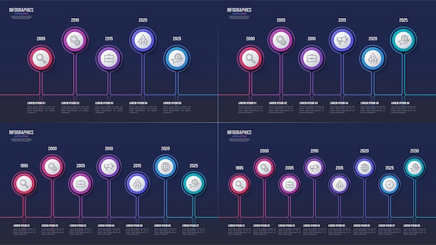 5 6 7 8 passaggi disegni infografici, grafici cronologici, prese