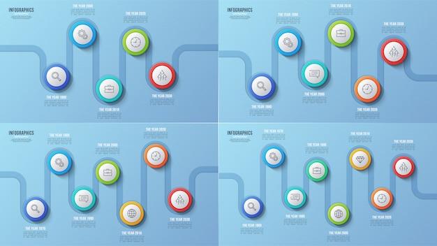 5 6 7 grafici temporali a 8 fasi, disegni infografici, prese