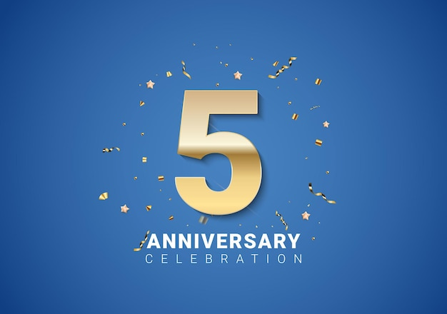 Sfondo 5 anniversario con numeri dorati, coriandoli, stelle su sfondo blu brillante. illustrazione vettoriale eps10