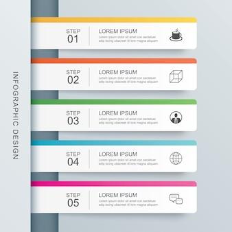 Modello di indice di carta di scheda di infographics di 5 dati.