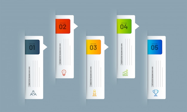 Layout di presentazione di 5 diversi livelli