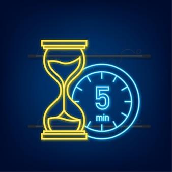 I 5 minuti, icona al neon di vettore del cronometro. icona del cronometro in stile piatto, timer su sfondo colorato. illustrazione vettoriale.