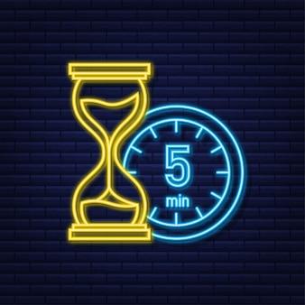 L'icona al neon di vettore del cronometro di 5 minuti icona del cronometro in stile piatto