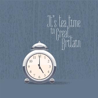 5 in punto per l'illustrazione di vettore di ora del tè