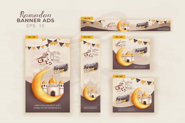5 ramadan kareem banner design template, happy ramadan greetings