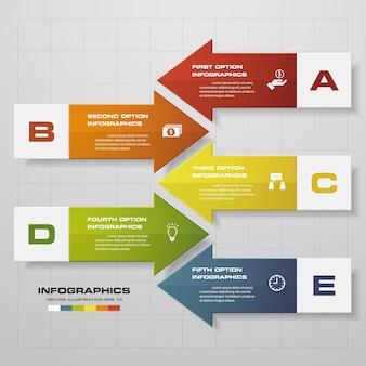 5 passi del modello di infografics della freccia.