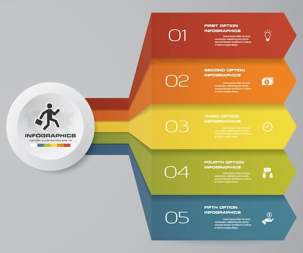 Modello di freccia di 5 passi per presentazione aziendale.
