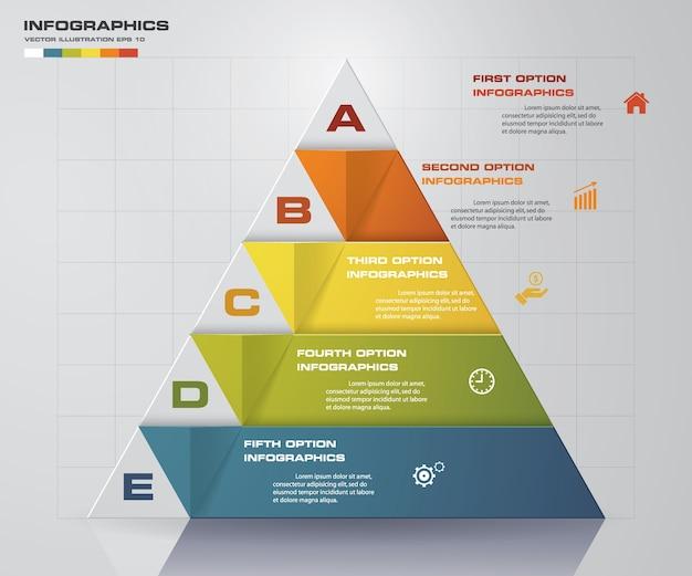 Piramide a 5 gradini con spazio libero per il testo su ogni livello.