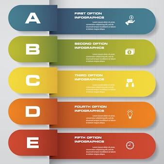 5 punti timeline freccia infografica elemento.