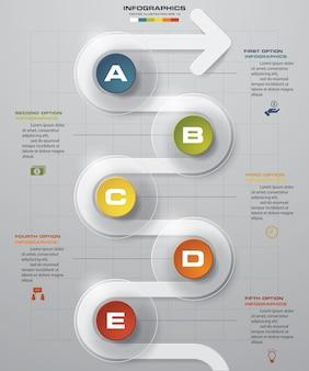 5 punti timeline freccia infografica elemento