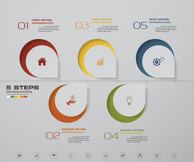 Diagramma di elemento infografica timeline di 5 passi per la presentazione.