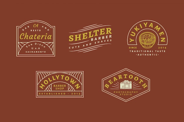 5 set di logo vintage vol 03 - chateria bar and resto logo - yukiyamen traditional taste authentic authentic logo - shelter barber logo - barbershop testo completamente modificabile, colore e contorno