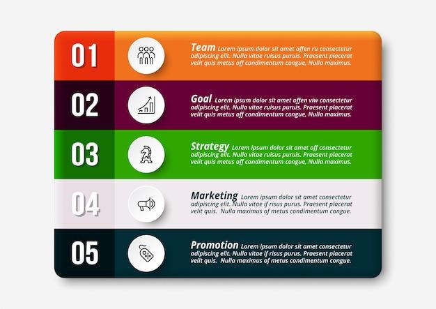 5 fasi di lavoro di qualsiasi attività commerciale e presentazione attraverso il design infografico.
