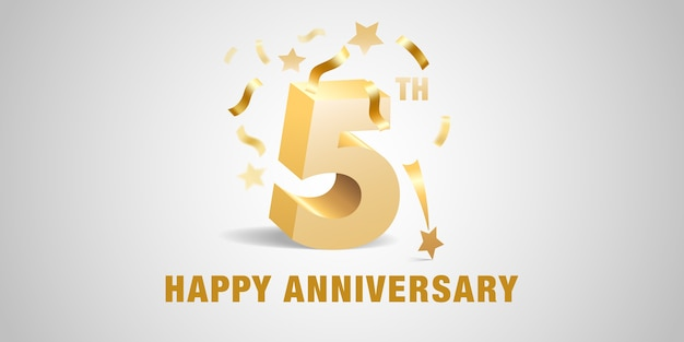 Modello di progettazione di 5 anni anniversario con numeri 3d dorati ed elementi festivi