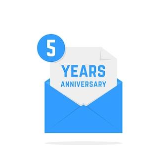 Icona di anniversario di 5 anni nella lettera. concetto di testo festivo, posta in arrivo, divertimento, avviso, memoriale, certificato, successo, e-mail, sms. design di poster grafico logotipo moderno stile piatto su sfondo bianco