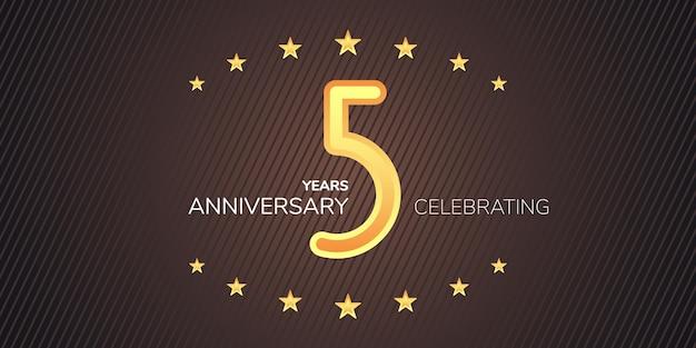 Logo dell'icona dell'anniversario di 5 anni