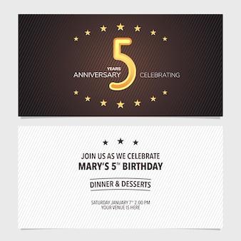 Illustrazione dell'invito dell'anniversario di 5 anni. elemento modello di design con sfondo astratto per il quinto biglietto d'auguri, invito a una festa