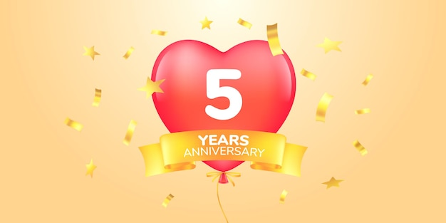 Icona del logo vettoriale dell'anniversario di 5 anni simbolo dell'insegna modello con mongolfiera a forma di cuore per