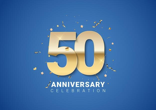 Sfondo di 50 anni con numeri dorati, coriandoli, stelle su sfondo blu brillante. illustrazione vettoriale eps10