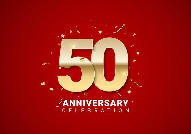 Sfondo di 50 anni con numeri d'oro, coriandoli, stelle su sfondo rosso brillante per le vacanze. illustrazione vettoriale eps10