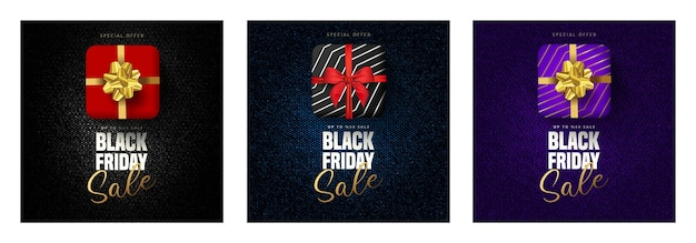 Offerta di sconto del 50% per scritte in vendita venerdì nero, confezione regalo in 3 diversi colori