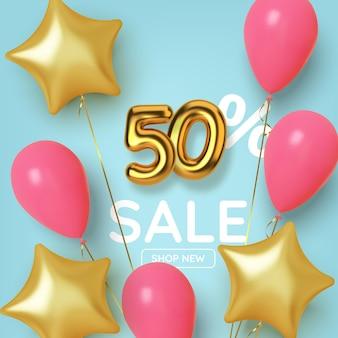 Vendita promozionale di 50 sconti realizzata con un numero d'oro 3d realistico con palloncini e stelle. numero sotto forma di palloncini dorati.
