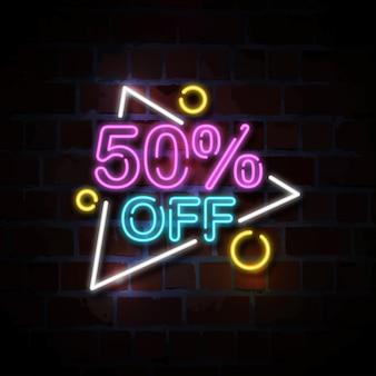 50% di sconto sull'insegna al neon