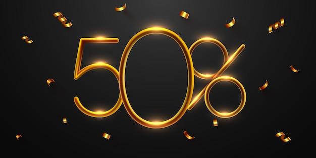 50 percento di sconto sulla composizione creativa 3d mega vendita o cinquanta percento di bonus