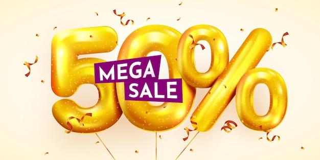 50 percento di sconto sulla composizione creativa di mega vendita di palloncini dorati o cinquanta percento
