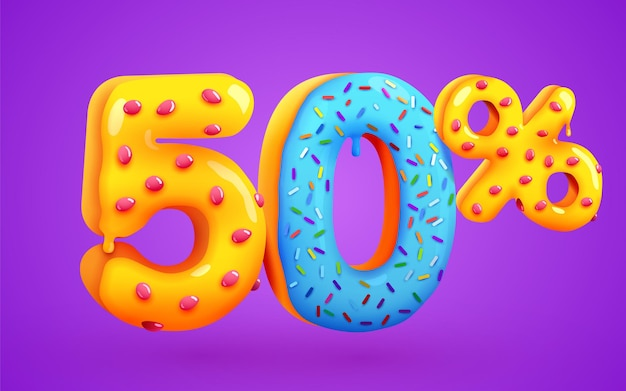 50 percento di sconto sulla composizione del dessert 3d mega simbolo di vendita con numeri di ciambelle dolci volanti