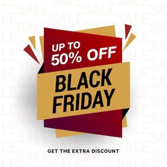 50 per cento di sconto. banner di vendita del black friday.