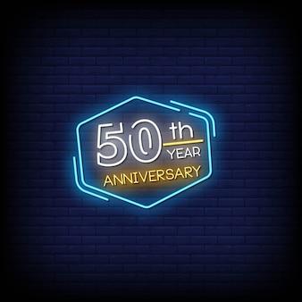 50 ° anniversario insegne al neon in stile testo
