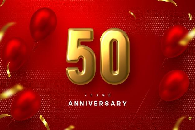 Bandiera di celebrazione di anniversario di 50 anni. 3d metallico dorato numero 50 e palloncini lucidi con coriandoli su sfondo rosso maculato.