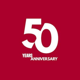 Icona di vettore di 50 anni anniversario, logo. elemento di design con composizione di cifre e testo per il 50° anniversario