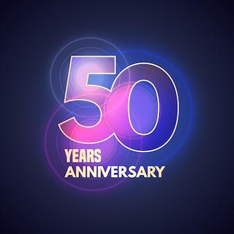 Icona di vettore di 50 anni anniversario, logo. elemento di design grafico con bokeh per il 50° anniversario